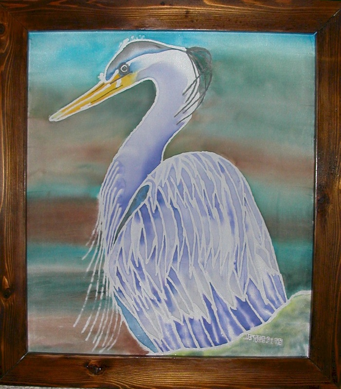 Heron on silk